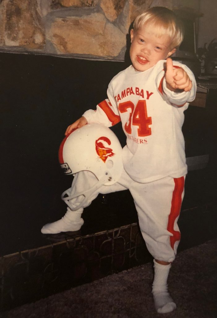 Sam Piazza in a Tampa Bay Buccaneers outfit - Help make the Movie Because of Sam