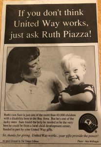 United Way Program - Sam Piazza and Ruth Piazza on the cover
