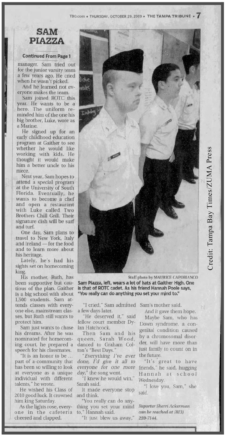 Sam Piazza - page 2 of Tampa Tribune article showing his ROTC involvement