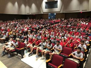 Carrollwood Day School - audience waiting to see Because of Sam documentary in private underwritten screening