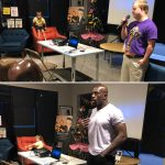 Sam Piazza and Titus O'Neil speaking at GiGi's Playhouse for private underwritten screening