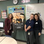 Dr. Marie Whalen, Sam Piazza, Renee Warmack in front of Because of Sam Movie Poster
