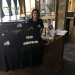 Renee Warmack selling Because of Sam t-shirts at the film screening
