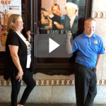 Ruth Piazza and Sam Piazza in front of Tampa Theatre
