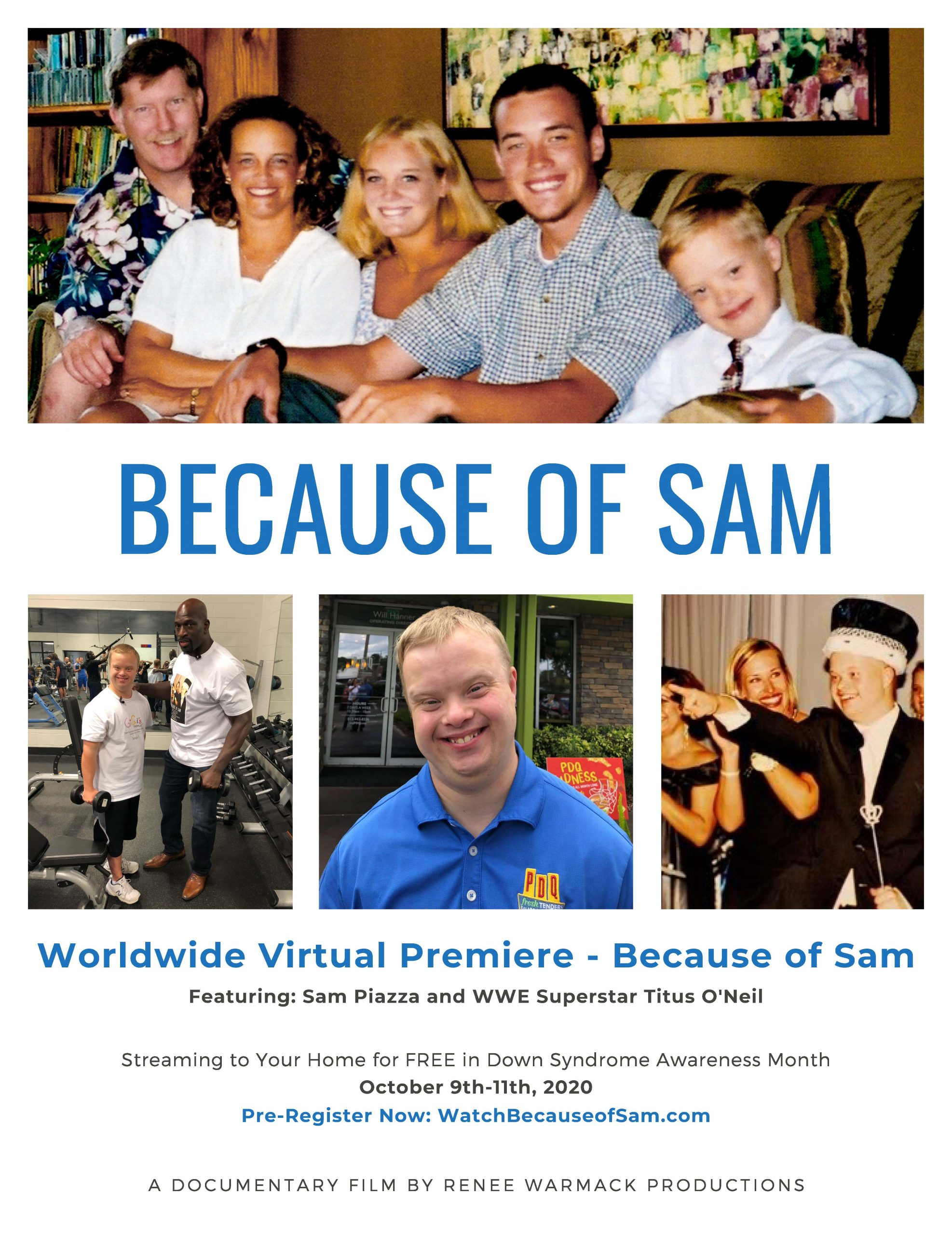 Because of Sam - Virtual Premiere Flyer