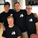 Renee Warmack, Sam Piazza, Nick Altieri, David Scott - sporting Because of Sam T-Shirts